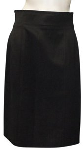 Chanel Tropical Wool Classic Straight Pencil Hs1160 Skirt Black