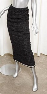 Chanel 98a Womens Wool Skirt Black