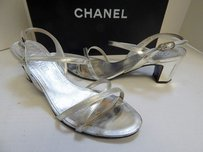 Chanel Leather Strappy Leather Cc W Box Silver Sandals