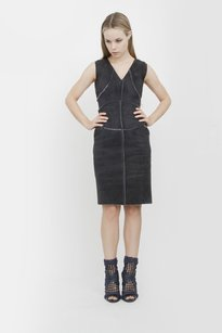 Chanel Sheepskin Shearling Suede Leather Patchwork Sleeveless 234 Dress
