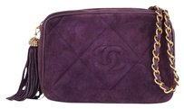 Chanel Suede Purple Vintage Shoulder Bag