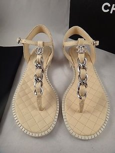 Chanel 15p Quilted Beige Sandals