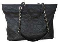 Chanel Caviar Leather New Quilted Chain Tote in Black