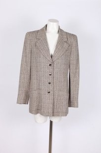 Chanel Blackbeigewhite Tweed Jacket