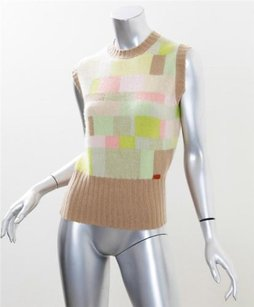 Chanel Womens 00a Cashmere Pastel Sleeveless Fitted Blouse 40m Sweater