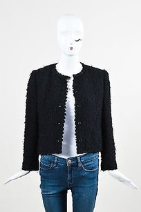 Chanel Vintage Chanel Black Woolen Tweed Button Up Long Sleeve Blazer Jacket