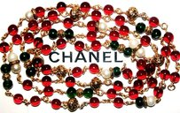 Chanel Vintage CHANEL GRIPOIX (Poured Glass) Red*Green*Pearl Gold Byzantine Style NECKLACE / 68