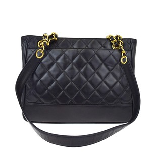 Chanel Vintage Leather Chain Double Flap Quilted Tote in black