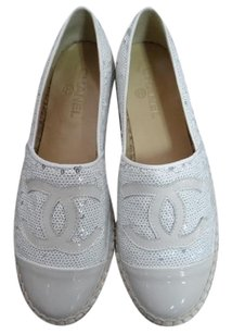Chanel White Sequins Espadrille Flats