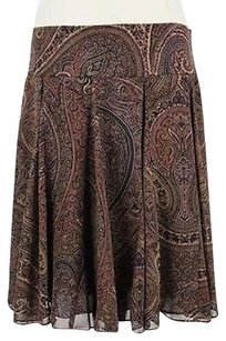 Chaps Womens Brown Printed Skirt Multi-Color
