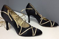 Charles Jourdan Satin Gold Metallic Tassel Edge Strappy B3524 Black Pumps