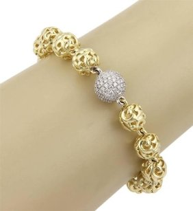 Charles Krypell Charles,Krypell,18k,Yellow,Gold,9mm,Ivy,Ball,Diamonds,Toggle,Bracelet