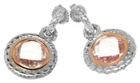 Charles Krypell Charles Krypell 14k Rose Gold and Silver Pink Topaz Round Earrings