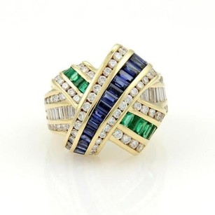 Charles Krypell Charles Krypell 18k Ygold 5.55tcw Diamonds Rubies Emerald Ribbon Design Ring