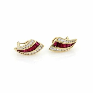 Charles Krypell Charles Krypell 2.50ct Diamond Ruby 18k Yellow Gold Post Clip Earrings