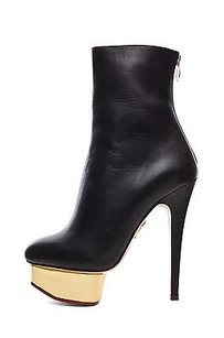 Charlotte Olympia Lucinda Leather Gold Platform Ankle Black Boots
