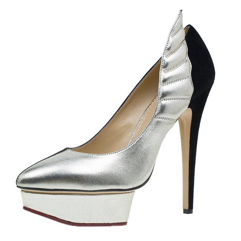 Charlotte Olympia Black Silver Two Tone Leather Mercury Platform Pumps Size EU 39 (Approx. US 9) Regular (M, B)