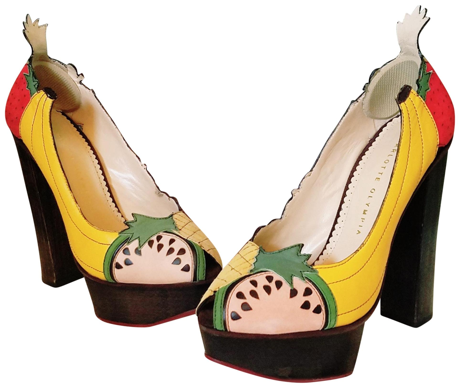 Charlotte Olympia Yellow Green Red Brown 165 Italian Fruit Or 36 Formal Shoes Size US 6 Regular (M, B)