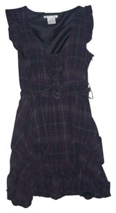 Charlotte Russe short dress Purple Plaid Baby Doll Ruffles Buttons on Tradesy