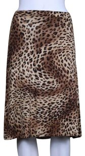 Charlotte Tarantola Womens Animal Print Knee Skirt Beige