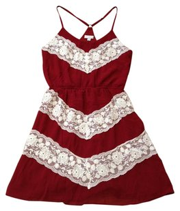 Charming Charlie short dress BURGANDY RED WHITE Lace Cowboy Lace Trim Preppy Classic on Tradesy