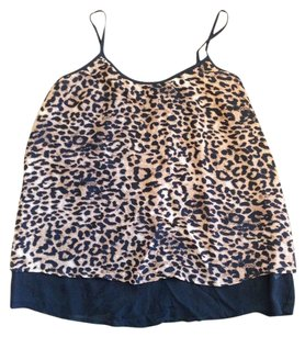 Charming Charlie Top LAYERED LEOPARD BLACK TANK SMALL