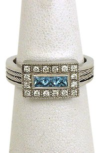 Charriol Philippe Charriol Diamonds Blue Topaz 18k White Gold Cocktail Ring 5.25