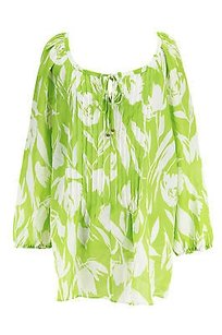Charter Club Good Floral Top green