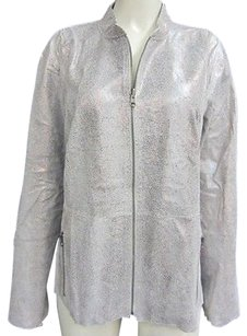 Chico's Chicos Silver Iridescent Metallics Jacket
