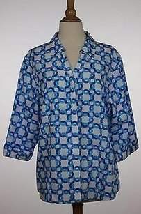 Chico's Chicos Womens White Blue Geo Multi-Color Jacket