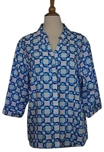 Chico's Womens White Blue Geo Blouse 34 Sleeve Button Down Shirt Multi-Color Jacket