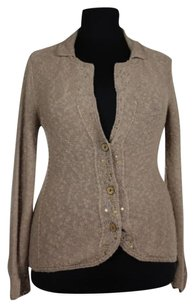 Chico's Womens Knit Cardigan Linen Blend Sequined Sweater