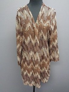 Chico's Geo Print Nylon Blend Open Front Cardigan Sma7628 Sweater
