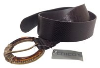 Chico's Chico's Wide Leather Belt Large Amber & Crystals Buckle