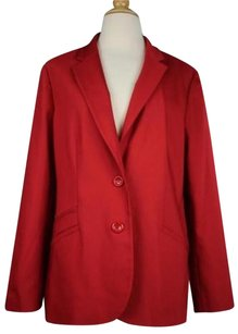 Chico's Chicos Womens Red Solid Blazer Long Sleeve Cotton Blend