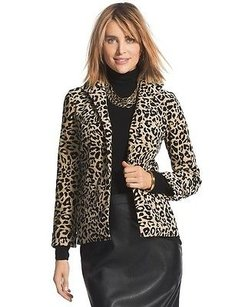 Chico's Chicos Xlarge Leopard Print Jacket Velveteen Fabric Open Front