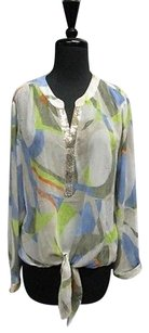Chico's Tan Long Sleeves V Neck Sequin Tie Front Geo Print Sma12059 Top Tan/Blue/Green