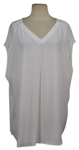 Chico's Womens Textured Causal V Neck Semi Sheer Shirt Top White