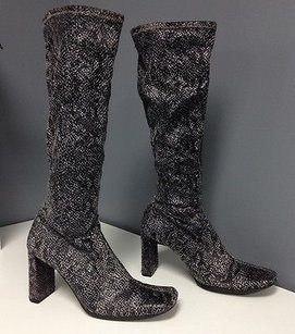 Chinese Laundry Black Stretch Gray Fabric Block Heel Knee High B3233 Multi-Color Boots
