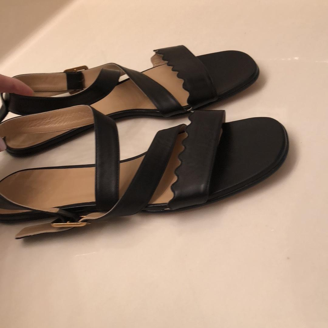 0416559df6 US Chloé Black Leather Gold Buckle Buckle Buckle Strap Sandals Size EU 41 ( Approx.