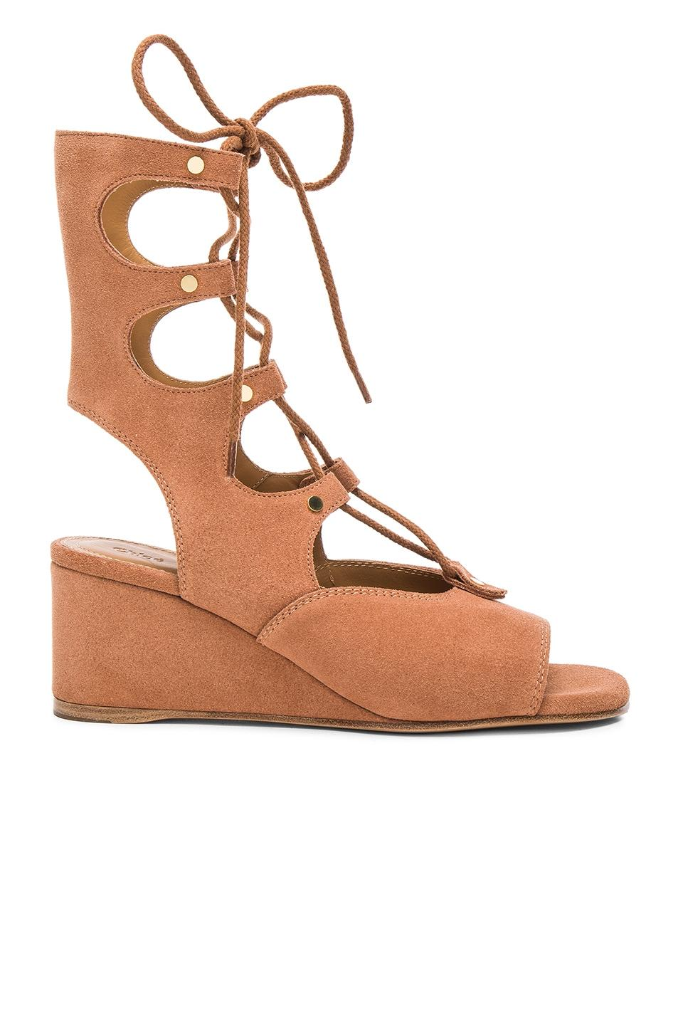 Chloé Brown Suede Foster Gladiator Wedge In Camel Sandals Size EU 38 (Approx. US 8) Regular (M, B)