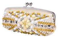 Chloé Chloe Yellow Bead Cream Multi-Color Clutch