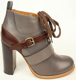 Chloé Chloe Leather Lace Up Oxford Ankle Heels Gray / Wine Boots