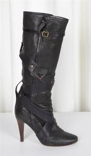 Chloé Chloe Womens Leather Crisscross Black Boots
