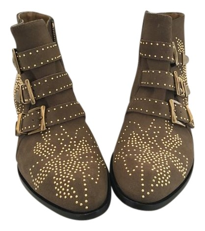 Chloé Olive Gold Studded Boots/Booties Size US 7 Regular (M, B)