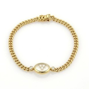 Chopard Chopard Happy Diamonds Oval Charm 18k Yellow Gold Curb Link Chain Bracelet