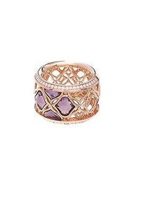 Chopard Chopard 18k Rose Gold Amethyst Diamond Imperiale Ring Size 6.5