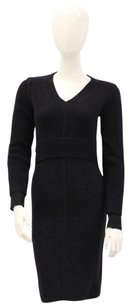 Chris Benz short dress Navy Blue Waffle Knit Knit Sweater V Neck Cuffs on Tradesy