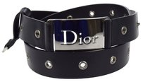 Dior Authentic Christian Dior Logos Belt Leather Black Silver Italy Vintage 01B618