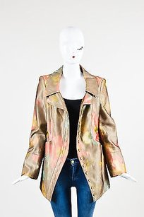 Christian Lacroix Christian Lacroix Brown Cream Red Mesh Overlay Floral Print Blazer